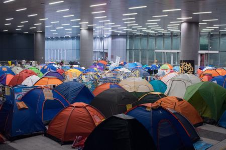 legislative: Protesters tent blocking legislative council building, a street blocking demonstration in 2014, Admiralty, Hong Kong, China Editorial