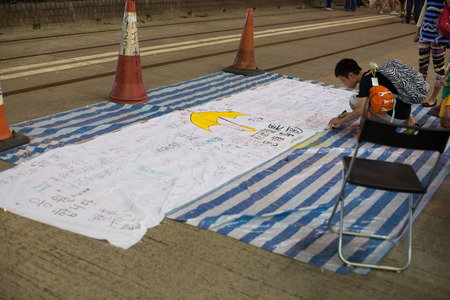 writing board: Writing board in blocked area, a street blocking demonstration in 2014, Causeway bay, Hong Kong, China
