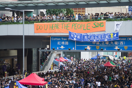 suffrage: Poster on Connaught road, a street blocking demonstration in 2014, Admiralty, Hong Kong, China