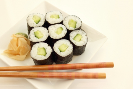 maki sushi with cucumber Stock Photo