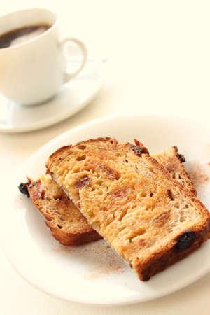 Toasted raisin bread with coffee Stock Photo