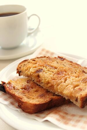 Toasted raisin bread with coffee Stock Photo