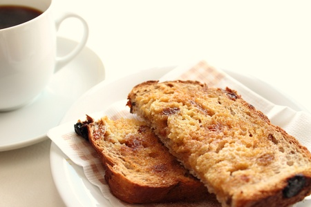 raisins: Toasted raisin bread with coffee Stock Photo