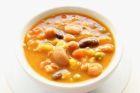 Vegetables and beans pumpkin soup