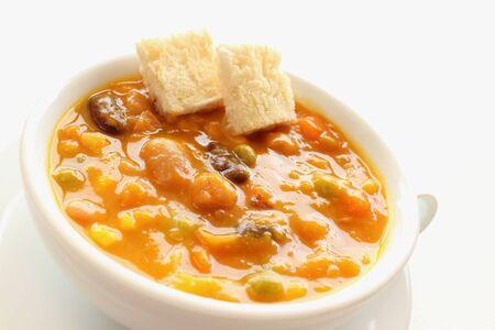 Vegetables and beans pumpkin soup