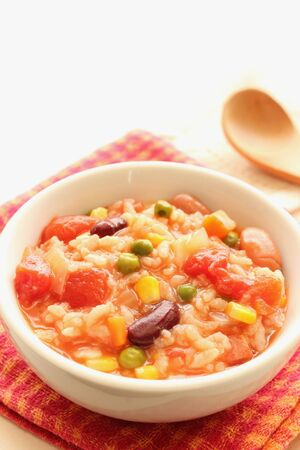 Tomato and vegetables risotto