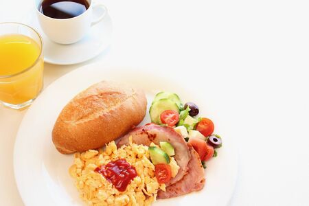 Breakfast Scrambled egg and bacon with salad  photo