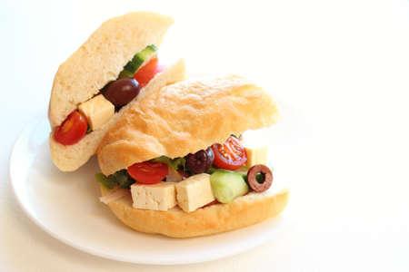 Greek salad sandwich Stock Photo