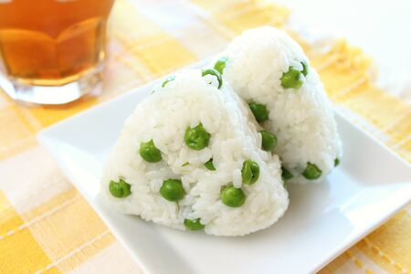 geen: Japanese cuisine rice-ball Onigiri with green-peas