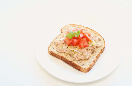 Open-faced tuna, tomato and alfalfa sandwich