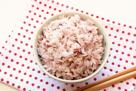 rice grains: Mixed rice in japanese rice bowl Stock Photo