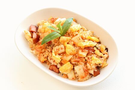 Korean cuisine kimchi fried rice with egg and sausage