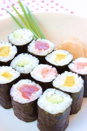 tekka: Hosomaki sushi  tuna, smoked salmon, cucumber and vegetables inside Stock Photo