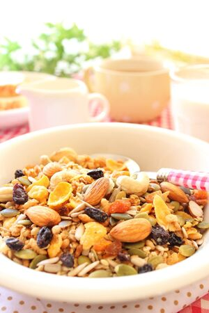 Healthy breakfast  nut, seed and dried fruit granola cereal Stock Photo - 15012947