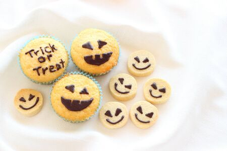 Halloween homemade cookies and cupcakes photo