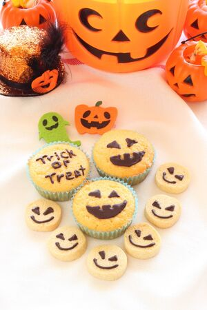 Halloween homemade cookies and cupcakes Stock Photo
