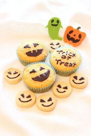 Halloween homemade cookies and cupcakes photo