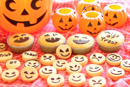 Halloween cupcakes and cookies Stock Photo