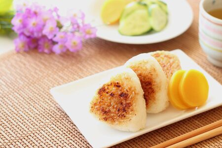 Japanese cuisine, Yaki Onigiri, rice ball Stock Photo