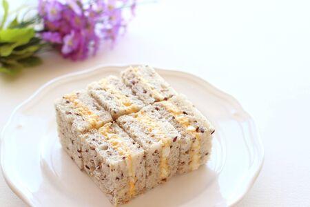 Boiled egg sandwich on multigrain bread  photo