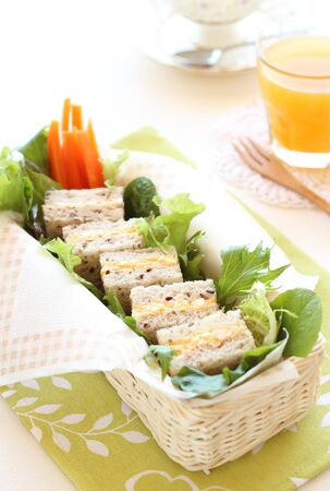 Boiled egg sandwich on multigrain bread with green leaf salad and carrot photo