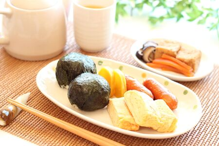 Japanese cuisine, Onigiri rice balls, egg roll and others
