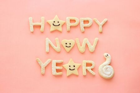 Happy new year homemade cookies on pink background Stock Photo - 16310613