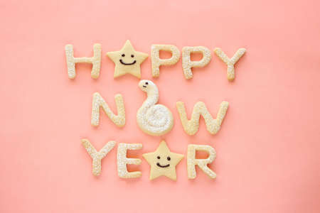 Happy new year homemade cookies on pink background