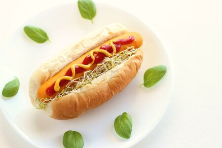 Sausage and alfalfa hot dog with basil on white plate