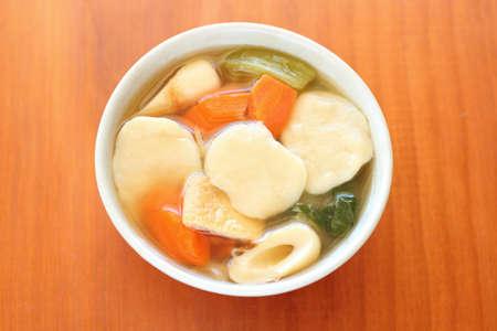 Japanese traditional cuisine Dagojiru, Vegetables and dumplings in soup Stockfoto