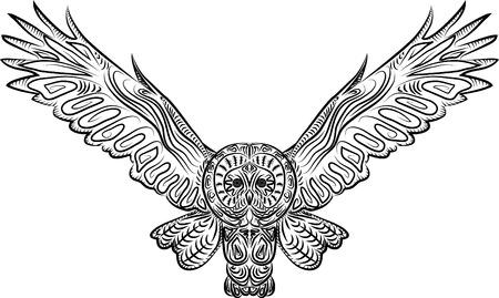 Vector illustration patterned flying owl