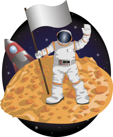 Astronaut with a flag on the surface of the planet on the background of the shuttle and the starry sky. Illustration