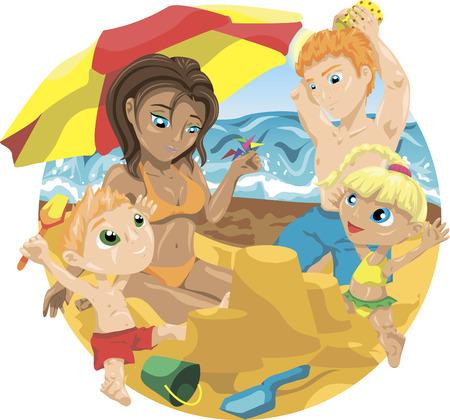 castle sand: Familia que se reclina en la playa. Los padres con los ni�os la construcci�n de un castillo de arena. Vectores
