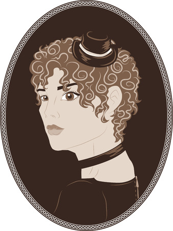vintage portrait: Vector vintage portrait of pretty curly girl in a small hat