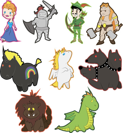 Set of vector fantasy characters in a cartoon style. Includes princess, knight, archer, barbarian, and the unicorn, pegasus, cerberus, manticore and dragon.