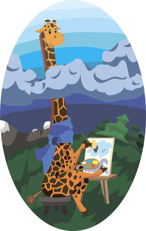 Vector illustration of cartoon giraffe sitting at his easel in a scarf. He rises above thunderclouds and draws a positive light landscape. Illustration
