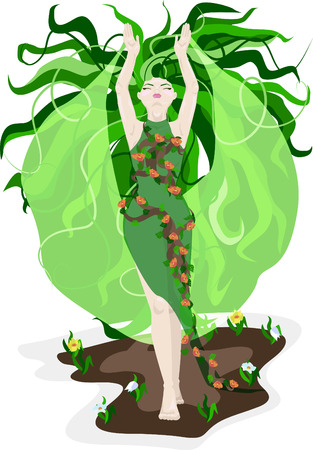 Vector illustration of spring in the form of a girl with green hair and a dress made of flowers