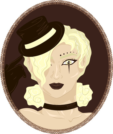 Vector vintage portrait of beautiful curly blonde girl in a small hat with a circus makeup