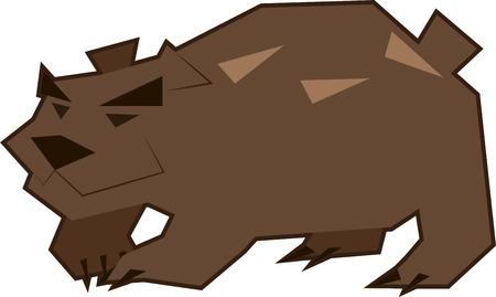 black eyes: Vector l'illustrazione di un arrabbiato bruin orso bruno con gli occhi neri