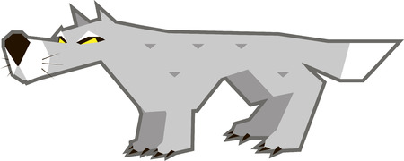 gray wolf: Vector illustration of an angry gray wolf with yellow eyes