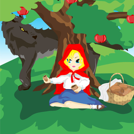 Girl sitting under a tree in a red hood with a basket of pies. One pie she faults and stretches half terrible gray wolf Illustration