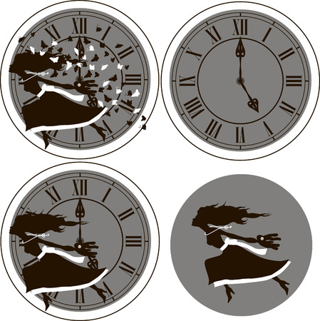 five o'clock: Set of vector illustrations - girl on the background of the clock  Alice in Wonderland