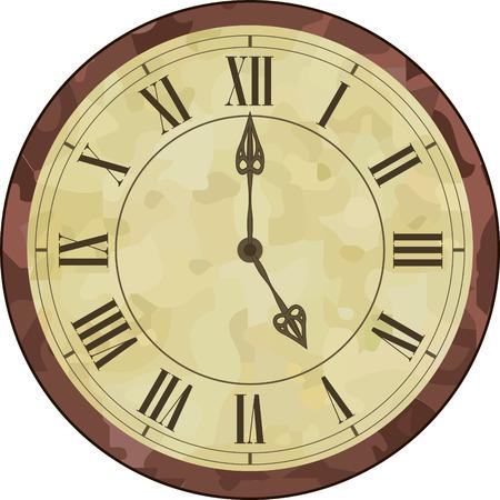 numeros romanos: ilustraci�n de un reloj antiguo con n�meros romanos en el dial