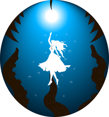 illustration of a girl who swim on the light from the bottom of her tentacles reaching out