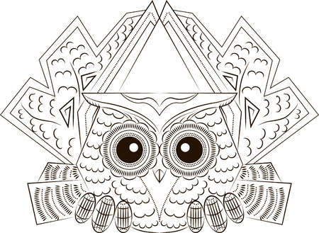 Pattern in the form of funny scared owl Illustration