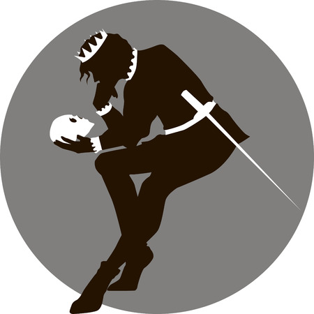 Black and white illustration of Hamlet with a skull in his hand