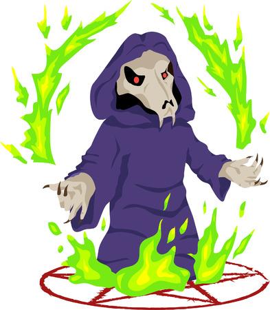 illustration necromancer standing on the pentagram around hellfire