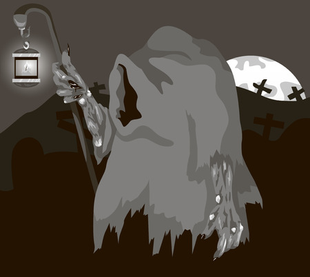 Vector illustration of a ghost with a lantern in the graveyard Illustration