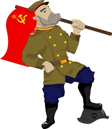 Illustration of a Soviet soldier with a flag in his hand, his foot stands on fascist helmet Illustration