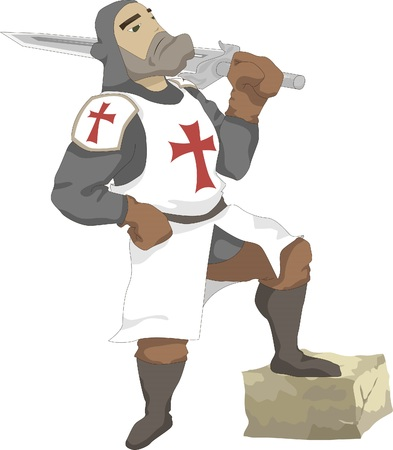Illustration of the Crusader with sword in hand